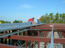 Standing seam roofing provides for no exposed fasteners, reducing leakage